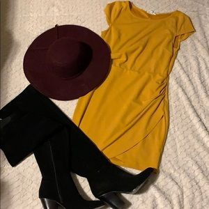 Open back mustard dress